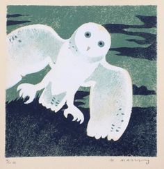 Mick Manning 'Green Owl' stencil print http://www.stjudesprints.co.uk/collections/mick-manning/products/green-owl