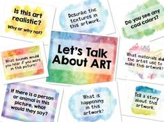 """These beautiful art discussion signs are perfect for your next art history lesson OR classroom art critique. These questions are mostly the same as the ones in the Art Discussion Cards pdf (with a few extras), BUT they are each on an individual 8.5"""" x 11"""" sized sign."""