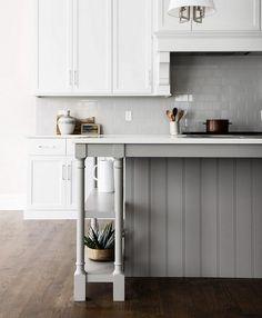 Benjamin Moore Baltic Gray. White kitchen with gray island painted in Benjamin Moore Baltic Gray (catalyzed with the conversion varnish) and gray subway tile backsplash. #BenjaminMooreBalticGray  Park & Oak Design.