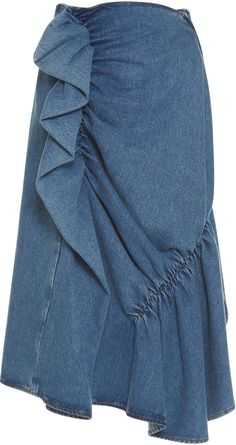 J.W.Anderson High Waist Ruffle Denim Skirt