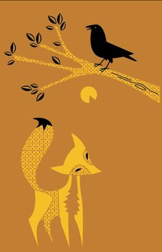 Charley Harper - raven and the fox.