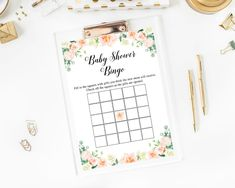 Editable Baby Shower Bingo Game Baby Shower Bingo Cards Baby | Etsy Virtual Baby Shower, Baby Shower Bingo, Bingo Games, Baby Games, Paper Mobile, Change Background, Floral Baby Shower, Favor Tags, Cards