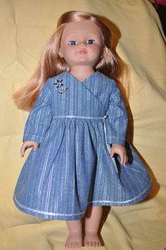 doll dress blue and silver party handmade WITH by karenhannarosson, $19.99