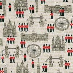 Makower UK - London - Buildings in Cream... fabric depicting famous London landmarks
