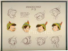 This is called a model sheet of Pinocchio's final design. Created to ensure stylistic uniformity among the animation team. It is initialed and approved by the character design supervisor JOE GRANT ( whose Disney credits run from 1937 to 2000) and dated almost precisely one year before the film's February 23, 1940 release.