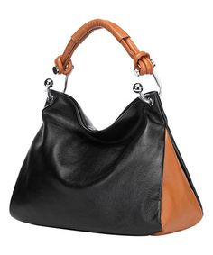 Another great find on #zulily! Black & Brown Melissa Leather Hobo #zulilyfinds