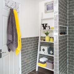Style at Home discovers ways to perk up a smart grey bathroom with yellow accessories bathroomdesignlayout 300052393922930538 Yellow Bathroom Accessories, Yellow Bathroom Decor, Yellow Bathrooms, Bathroom Colors, Small Bathroom, Bathroom Ideas, Bathroom Grey, Bathroom Storage, Modern Bathroom