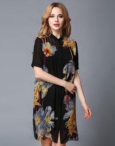 VIPme (VIPSHOP Global) - GUSTAVO ARANGO Floral Mid-Length Stand Collar Floral Vintage Outerwear - AdoreWe.com