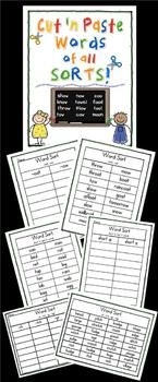 Word Sorts - Cut n Paste and More - Tons of cut and paste activities that will last you through the entire year! #tpt