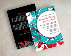 """Funky Fun Wedding InvitationsShown in red, teal, aqua, blackPrinted front and backLISTING INCLUDES: 25 5x7 wedding invitations*25 A7 plain white envelopes25 Tissue paper inserts(RSVP card sold separately)ORDERING: Add items to your cart (see drop-down menu). Choose your card quantity. For additional items such as return address printing, you will add that item, and then go to your shopping cart and type in the quantity. Go to """"How to Order"""" for more deta..."""