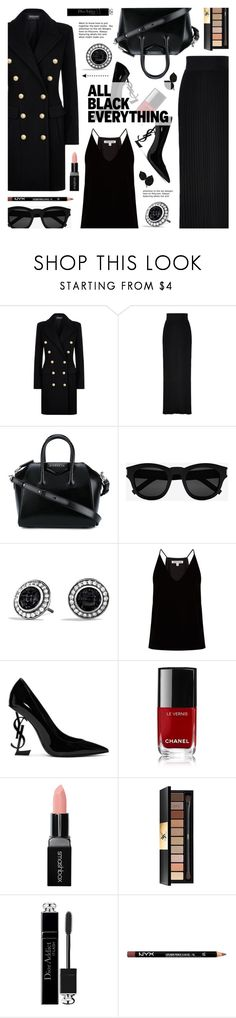 """""""Monochrome: All Black Everything"""" by anyasdesigns ❤ liked on Polyvore featuring Balmain, Givenchy, Yves Saint Laurent, David Yurman, Elizabeth and James, Chanel, Smashbox, Christian Dior and NYX"""