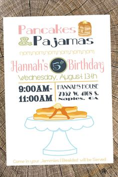 Pancakes and pajamas invitation girls by foreveryourprints dessert pancakes and pajamas invitation girls by foreveryourprints dessert party pinterest pancake party girl birthday and party invitations filmwisefo