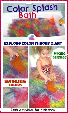 Beautiful Color Splash Bubble Bath- fantastic exploration of art, sensory, Science, and color theory! Simple to put together and SO FUN! Sensory Activities, Educational Activities, Toddler Activities, Learning Activities, Sensory Play, Bath Tub Fun, Kids Bath, Bubble Bath, Toddler School