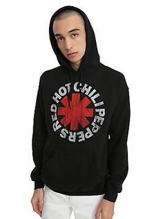 Red Hot Chili Peppers Distressed Logo Hoodie, BLACK