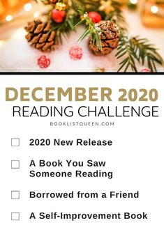 Booklist Queen December 2020 Reading Challenge. Looking for the ultimate Reading Challenge for 2020? Join me for the 2020 reading challenge and read a book a week with Booklist Queen! That's 52 prompts to keep you reading all year long, including these categories for the December Reading Challenge.