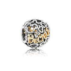 Charm Sterling Silver Disney Believe w/14K Gold