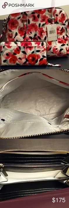 """Kate Spade *1HR DEAL* Authentic beautiful abstract floral handbag and wallet in  shades of pink, gray, white, and black. 3 inner pockets. Comes with detachable shoulder strap, large compartmental wallet, and dust bag. Bag is 9""""x12"""", wallet is 4""""x7.5"""" This is a must-have! kate spade Bags"""