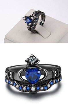 While there may be a variety of reasons to invest in black gold jewelry, many individuals choose this type of gold for its unique characteristics. Since white, rose and yellow gold rings have become so common over the years, a black gold ring is a real. Blue Wedding Rings, Gothic Wedding Rings, Celtic Wedding Rings, Blue Rings, Black Hills Gold Jewelry, Claddagh Rings, Fashion Rings, Gold Fashion, Diamond Engagement Rings