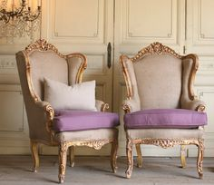 Pair Vintage Shabby Gilt Wing Back Bergere Chairs Upholstered