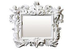 I wish i could hang this at KP's beach house bathroom to match her cherub soap dish Baroque Frame Mirror w/Cherubs, White on OneKingsLane.com