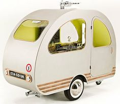 Miniature Caravan: can be pulled by a Bicycle. Contains bed, TV, shelves and more! >> NEATO!