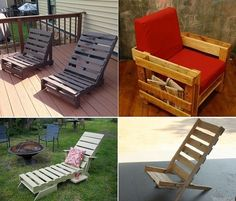 DIY Homemade Pallet Lounge Chair - http://www.ikeadecoratingideas.com/decoration-tips/diy-homemade-pallet-lounge-chair.html