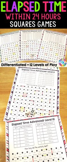 "Elapsed Time Within 24 Hours ""Squares"" game contains 12 fun and engaging elapsed time games. Each one-page elapsed time game gets students to solve for the amount of time that has elapsed, the start time, or the end time. This means that you can have each student practicing the skill that he/she needs the most help with."