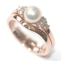 9ct Rose Gold Pearl and Diamond Engagement Ring and Fitted Wedding Ring, Form Bespoke Jewellers, Leeds, Yorkshire