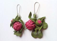 Leather earrings Alpine meadow от DreamsAboutSummer на Etsy