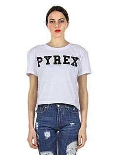 T-SHIRT IN COTONE CORTA CON STAMPA LOGO PYREX