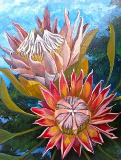 """Double Protea original oil painting on wood panel , """"King Protea"""" $69.00 by Monica Armstrong Oil Paint On Wood, Painting On Wood, Tropical Flowers, Pink Flowers, Project Ideas, Art Projects, Lavender Seeds, King Protea, Greek Gods"""