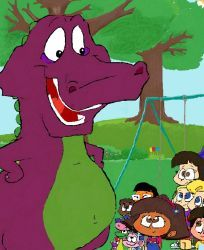 bddc12d103 Barney and Dora and The Backyard Gang. by PurpleDino100