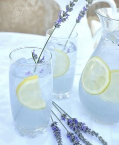 Lavender Lemonade: Combine ¾ cup of water with ½ cup of sugar in a saucepan. Bring to a low boil and stir until sugar dissolves, remove from heat. Add 3-4 organic lavender buds to heated sugar water mixture and allow to cool for 10 minutes. Prepare frozen lemonade as directed, minus 1 cup of water. Remove buds from sugar mixture, then pour sugar water into prepared lemonade and add fresh slices of lemon. For color, mix ¼ cup of water with one drop each blue and red food coloring.