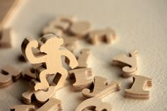 Figural pieces from a wood Wedding Puzzle (guest book) by Bella Puzzles