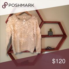NWT Anthropologie White Textured Sweater - Anthropologie White Textured Sweater   - White/cream textured sweater with satin appliqué around shoulders and neckline   - Size Small    - Nee With Tags Anthropologie Sweaters Crew & Scoop Necks