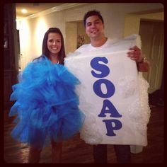 Couple Halloween costume. Home made loofah and bar of soap.
