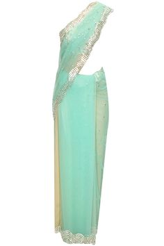 Mint green coin and pearl work sari with floral embroidered blouse by Papa Don't Preach. http://www.perniaspopupshop.com/designers/papa-don-t-preach-by-shubhika #sari #papadontpreach #shopnow #perniaspopupshop
