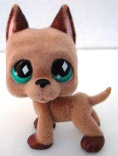 Littlest Pet Shop LPS Brown Great Dane Dog #1519 Green Yellow Eyes Puppy Toys