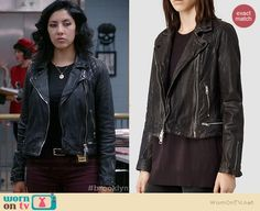 Rosa's black leather jacket with zip waist and quilted shoulders on Brooklyn Nine-Nine.  Outfit Details: http://wornontv.net/38631/ #Brooklyn99