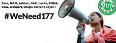 Au Cambodge, les ouvrie-r-es ne veulent plus travailler pour un salaire de misère.   H&M, C&A, Walmart, Uniqlo, Puma, Adidas, Zara et Levi Strauss & Co doivent garantir un salaire digne aux ouvrier-e-s du Cambodge.   Ils et elles sont des milliers à revendiquer un salaire minimum de 177 US$ (164€) comme étape immédiate à franchir vers un salaire vital. Soutenons les !   Signez cet Appel Urgent pour envoyer immédiatement un message de protestation aux marques !