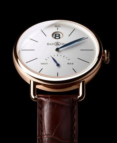 Bell & Ross - Classic Brown Leather strap, gold casing, white face, blue hands.  Bell&Ross makes some very unique timepieces, truly one of a kind.  But this one is a uniquely sophisticated classic look. (scheduled via http://www.tailwindapp.com?utm_source=pinterest&utm_medium=twpin&utm_content=post72331404&utm_campaign=scheduler_attribution)