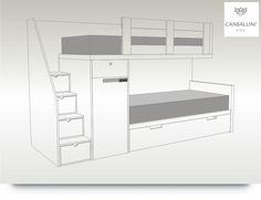 Literas tren de diseño original para niños/as con escalones cajones armarios escritorio