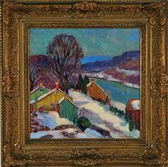 """December at Lumberville,"" Fern Isabel Coppedge, oil on canvas, 12 x 12"", private collection."