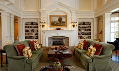 Southern Style Estate traditional living room with an Isokern. Beautiful Mantle and built in bookshelves! By Stephen Fuller Designs, Norcross, GA Traditional Family Rooms, Traditional Interior, Traditional Bedroom, Traditional House, Traditional Decorating, Southern Living Rooms, Estilo Interior, Fireplace Design, Fireplace Mantle