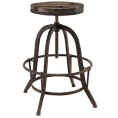Buy Modway Collect Industrial Modern Wood Top Bar Stool in Brown EEI-1208-BRN…