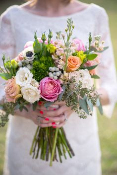 Charming Pink and Peach Wedding Inspiration. I JUST LOVE THIS. Clothes, nails, bouquet colors. Great picture of me holding? Great office color scheme? Table top? Pop of color?!