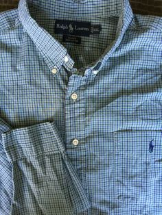 Men Ralph Lauren Blake Blue White Green Plaid XX-Large 2XL Shirt  L/S #RalphLauren #ButtonFront