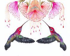 Original watercolor 10x8 Together on teva gallery by TevaKiwi