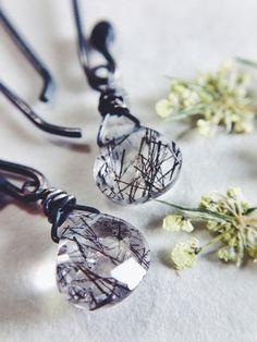 Dewdrop earrings - Rutilated quartz crystal earrings –