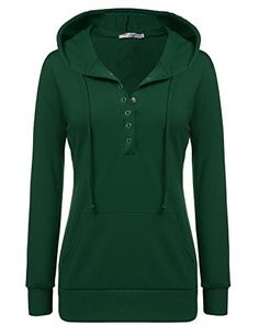Meaneor Women Long Sleeve Pullover V Neck Vintage Button Tunic Sweatshirt Hoodie (L, Green)